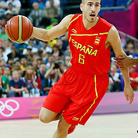 08 August 2012: Spain Sergio Rodriguez drives past Tony Parker during 66-59 Team Spain victory over Team France, during the men's basketball quarter-finals, at the 02 Arena, in London, Great Britain.