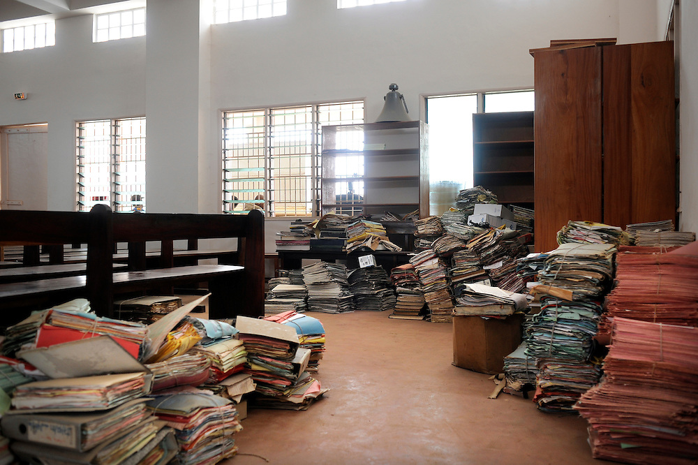 Benin February 29, 2008 - Folders on the floor at the Supreme Court Chamber of the urban district of Lokossa