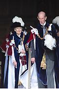 """Koning Willem Alexander wordt door Hare Majesteit Koningin Elizabeth II geïnstalleerd in de 'Most Noble Order of the Garter'. Tijdens een jaarlijkse ceremonie in St. Georgekapel, Windsor Castle, wordt hij geïnstalleerd als 'Supernumerary Knight of the Garter'.<br /> <br /> King Willem Alexander is installed by Her Majesty Queen Elizabeth II in the """"Most Noble Order of the Garter"""". During an annual ceremony in St. George's Chapel, Windsor Castle, he is installed as """"Supernumerary Knight of the Garter"""".<br /> <br /> Op de foto / On the photo:  Princess Alexandra, The Honorable Lady Ogilvy and HRH The Duke of Kent"""