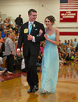 James McDonald and Nina Caruso during Laconia High School's prom march through the gym before taking their prom cruise on the Mount Washington Friday evening.  (Karen Bobotas/for the Laconia Daily Sun)