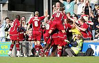 Photo: Steve Bond.<br />Scunthorpe United v Sheffield United. Coca Cola Championship. 01/09/2007. Scunthorpe celebrate Matt Sparrow's late winner