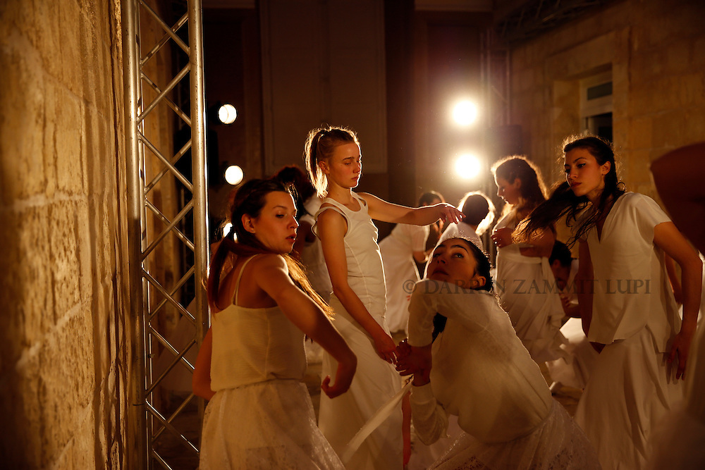 Annual Collective Performance of the School of Performing Arts.<br /> <br /> White<br /> White is a performance about space, or the absence of it. <br /> Once upon a time, characters were in search of an author. Today they are in search of a space. The characters, played by the students of the School of Performing Arts at the University of Malta, are lost in a corridor in-between places. Around them all is empty. A void. Like a vault, all they have is…White!<br /> <br /> Photo: Darrin Zammit Lupi