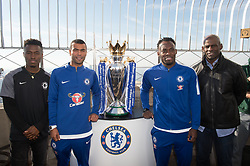November 27, 2017 - New York, New York, U.S - The Empire State Building hosts former Chelsea FC legends ASHLEY COLE and MICHAEL ESSIEN with the Premiere League Trophy and members of FC Harlem Youth soccer team on November 27, 2017 in New York. (Credit Image: © Bryan Smith via ZUMA Wire)