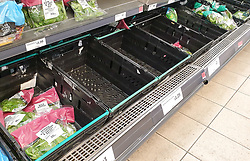 "© Licensed to London News Pictures. 22/12/2020. London, UK. Empty crates of salad in Sainsbury's supermarket in north London. A number of supermarkets have warned that some items may run low this week. Prime Minister Boris Johnson urged in a press conference for people to ""shop normally"". It came after France closed the borders - banning UK travellers to their country, to stop the spread of the new variant of Covid-19. Photo credit: Dinendra Haria/LNP"