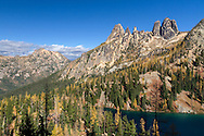 Early Winter Spires at Blue Lake in the North Cascades of the Okanogan-Wenatchee National Forest in Washington State, USA.