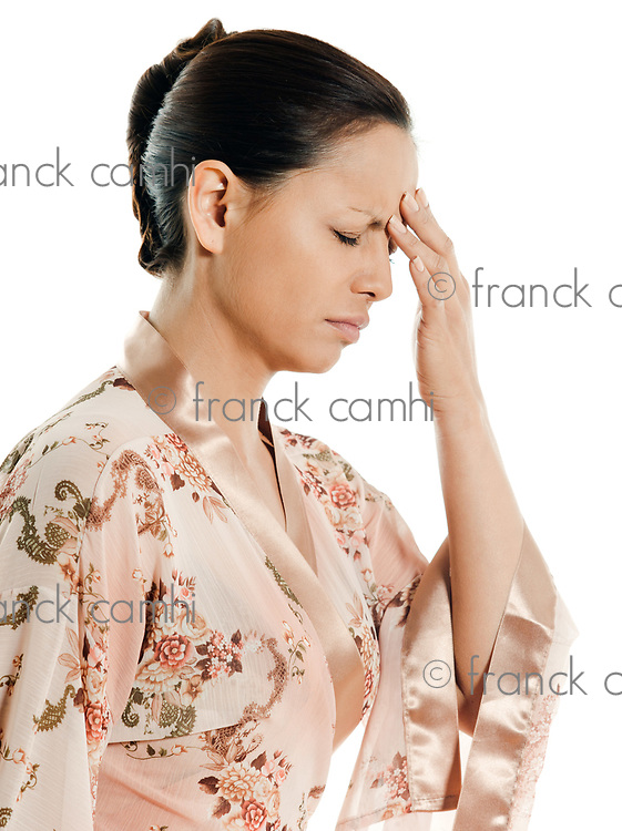 headache woman asian  on isolated white background