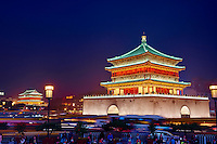 Chine, province du Shaanxi, ville de Xi'an, Tour de la Cloche // China, Shaanxi province, Xian, Bell Tower,  dating from 14th century rebuilt by the Qing in 1739