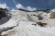 The Presena Glacier, not far form the Passo del tonale in northern Italy is covered with geotermical tissues. Since 2008 this technique is been used to reduce the ice temperatures during the summer season. Presena glacier, June 28th 2021. Federico Scoppa