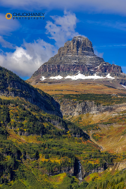 Clements Mountain and Reynolds Creek Falls in autumn in Glacier National Park, Montana, USA