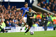 Pedro of Chelsea gets away from Leighton Baines of Everton. Premier league match, Everton v Chelsea at Goodison Park in Liverpool, Merseyside on Sunday 30th April 2017.<br /> pic by Chris Stading, Andrew Orchard sports photography.