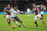 Luis Antonio Valencia of Manchester United in action with Aaron Cresswell of West Ham United (r) marking. Premier league match, West Ham Utd v Manchester Utd at the London Stadium, Queen Elizabeth Olympic Park in London on Monday 2nd January 2017.<br /> pic by John Patrick Fletcher, Andrew Orchard sports photography.