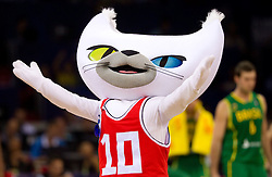 Official mascot Bascat during a time out at the Preliminary Round - Group B basketball match between National teams of USA and Brasil at 2010 FIBA World Championships on August 30, 2010 at Abdi Ipekci Arena in Istanbul, Turkey. (Photo By Vid Ponikvar / Sportida.com)