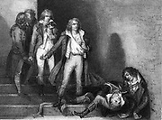 French Revolution: Having been condemned to death by the Thermidoriens, Romme, Goujon, Duquesnoy, Soubrany and Bourbotte killed themselves, 1795. Engraving.
