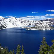 Wizard Island South Rim Edge View - Crater Lake