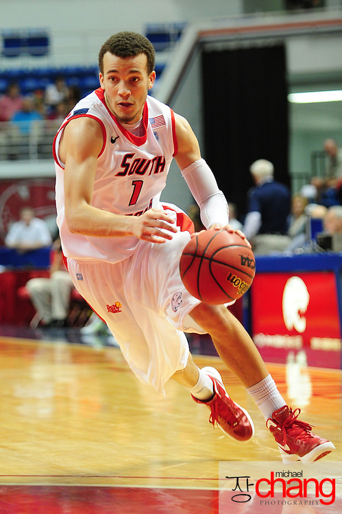 South Alabama's guard Trey Anderson (1) drives to the goal in the first half of play in Mobile, AL. Denver leads South Alabama 30-24 at halftime on January 7, 2012...