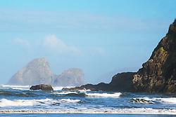 Sea stacks, morning sky,  Trinidad State Beach, Trinadad California.