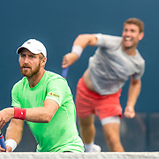 August 21, 2016, New Haven, Connecticut: <br /> Nicolas Meister and Eric Quigley in action during a US Open National Playoffs match at the 2016 Connecticut Open at the Yale University Tennis Center on Sunday, August  21, 2016 in New Haven, Connecticut. <br /> (Photo by Billie Weiss/Connecticut Open)
