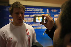 Egon Muric with journalist after practice of Slovenian national team at Hockey IIHF WC 2008 in Halifax,  on May 06, 2008 in Metro Center, Halifax, Canada.  (Photo by Vid Ponikvar / Sportal Images)