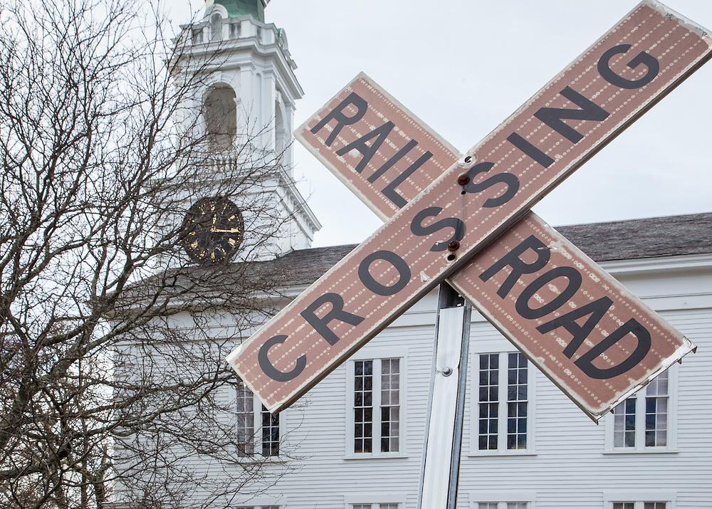 A grade crossing in Upton, Massachusetts.