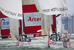 Artemis (SWE) races Synergy (RUS) in the third flight of the round robin. Auckland, New Zealand, March 11th 2010. Louis Vuitton Trophy  Auckland (8-21 March 2010) © Sander van der Borch / Artemis