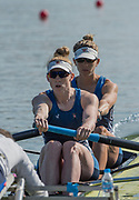 Plovdiv, Bulgaria, 10th May 2019, FISA, Rowing World Cup 1,  Start Area, W2-, USA, USA2, (b) Felice MUELLER, (s) Emily REGAN, Power off the Start<br /> [© Peter SPURRIER, ]