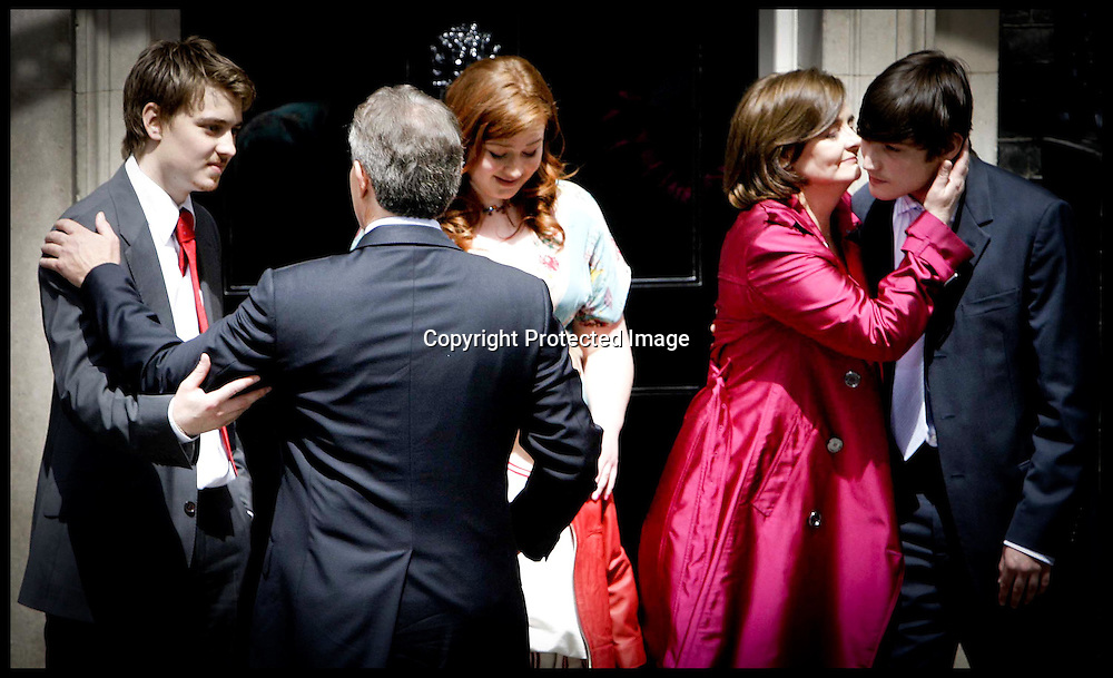 Tony Blair and his wife Cherie say goodbye to their children as they   leave Downing st  as he stands down as PM.PRESS ASSOCIATION Photo. Picture date:Wednesday 27th June  , 2007. Photo credit should read: Andrew Parsons/PA.