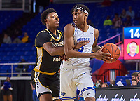 Middle Tennessee Blue Raiders guard Eli Lawrence (5) during the Southern Mississippi Golden Eagles at Middle Tennessee Blue Raiders college basketball game in Murfreesboro, Tennessee, Saturday, March, 7, 2020.<br /> Photo: Harrison McClary/All Tenn Sports