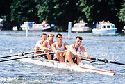 Henley. England, 1989 Henley Royal Regatta, River Thames, Henley Reach,  [© Peter Spurrier/Intersport Images],  Leander Club, Tim FOSTER Bow, Dave LUKE No.3