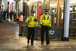 © Licensed to London News Pictures. 29/10/2020. Nottingham, UK. Police officers walk in the city centre before new restrictions come into force in Nottingham. The county of Nottinghamshire will enter into Tier 3 ,from 00:01 am on Friday 30 October.   Photo credit: Ioannis Alexopoulos/LNP