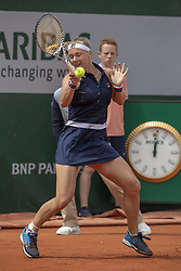 Netherlands' Kiki Bertens playing during the women's singles first round match on day two of The Roland Garros 2019 French Open tennis tournament in Paris on May 27, 2019. Photo by ABACAPRESS.COM