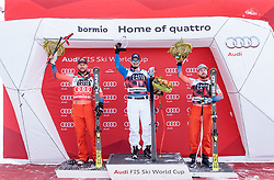 28.12.2017, Stelvio, Bormio, ITA, FIS Weltcup, Ski Alpin, Abfahrt, Herren, Flower Zeremonie, im Bild V.L. Aksel Lund Svindal (NOR, 2. Platz), Dominik Paris (ITA, 1. Platz), Kjetil Jansrud (NOR, 3. Platz) // f.l. second placed Aksel Lund Svindal of Norway, race winner Dominik Paris of Italy, third placed Kjetil Jansrud of Norway during the Flowers ceremony for the men's downhill of FIS Ski Alpine World Cup at the Stelvio course, Bormio, Italy on 2017/12/28. EXPA Pictures © 2012, PhotoCredit: EXPA/ Johann Groder