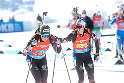 Schwaiger Julia and Hauser Lisa Theresa of Austria compete during the IBU World Championships Biathlon 4x6km Relay Women competition on February 20, 2021 in Pokljuka, Slovenia. Photo by Vid Ponikvar / Sportida