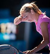 Klara Zakopalova (CZE) feels the heat in Day 1 of Australian Open play. Aussie Samantha Stosur beat  Zakopalova 6-3, 6-4 in first round play of the 2014 Australian Open at Melbourne's Rod Laver Arena. beat Klara Zakopalova (CZE) 6-3, 6-4 in first round play of the 2014 Australian Open at Melbourne's Rod Laver Arena.