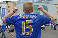 a Chelsea fan wearing a 'Champions 15' shirt outside Stamford Bridge before k/o. Barclays Premier League, Chelsea v Crystal Palace at Stamford Bridge in London on Saturday 29th August 2015.<br /> pic by John Patrick Fletcher, Andrew Orchard sports photography.