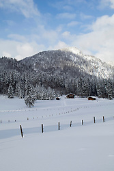 Wooden posts on snowcapped landscape with trees on mountain and houses in background