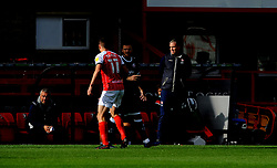 Cheltenham Town manager Michael Duff watches his team from he sideline - Mandatory by-line: Nizaam Jones/JMP - 10/10/2020 - FOOTBALL - Jonny-Rocks Stadium - Cheltenham, England - Cheltenham Town v Crawley Town - Sky Bet League Two