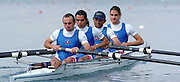 FISA World Cup Rowing Munich Germany..28/05/2004..Peter Spurrier.CHI LM4- Bow Jorge Morgenstern, Javier Godoy Post, Felipe Leal Atero and Miguel Cerda Silva [Mandatory Credit: Peter Spurrier: Intersport Images].