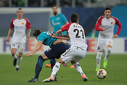 November 23, 2017 - Russia - defender Evgeni Novak of FC Vardar and forward Artem Dzyuba of FC Zenit during UEFA Europa League Football match Zenit - Vardar. Saint Petersburg, November 23,2017 (Credit Image: © Anatoliy Medved/Pacific Press via ZUMA Wire)