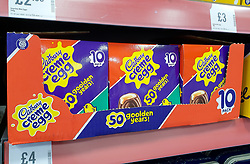 © Licensed to London News Pictures. 31/12/2020. London, UK. Cadburys Creme Easter eggs on sale in Iceland in north London, six days after Christmas Day. In 2021, Easter will fall on 4th April. Photo credit: Dinendra Haria/LNP