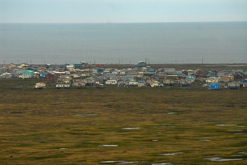 Alaska, Barrow. Aerial view of town, Browerville side. July 2007