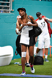 March 25, 2019 - Miami Gardens, FL, U.S. - MIAMI GARDENS, FL - MARCH 25:  Venus Williams stretches before her third round match at the Miami Open on March 25, 2019 at Hard Rock Stadium in Miami Gardens, FL. (Photo by Michele Sandberg/Icon Sportswire) (Credit Image: © Michele Sandberg/Icon SMI via ZUMA Press)
