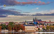 Prague Castle and Vtlava River in Prague, Czech Republic