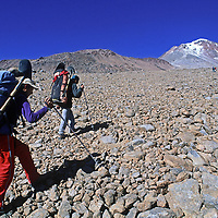 An archaeology team let by Dr. Johan Reinhard hikes up the slopes of 22,110-foot Volcan Llullaillaco in northern Argentina, where they later found the world's highest mummies from an ancient Inca sacrifice.