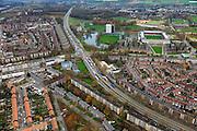 Nederland, Limburg, Maastricht, 15-11-2010;.President Rooseveltlaan (A2) in Maastricht met de kruising met de Viaductweg. Rechts is het stadion van voetbalclub MVV te zien..Roadway (A2) in Maastricht..luchtfoto (toeslag), aerial photo (additional fee required).foto/photo Siebe Swart