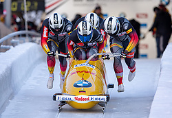 19.01.2020, Olympia Eiskanal, Innsbruck, AUT, BMW IBSF Weltcup Bob und Skeleton, Igls, Bob Viersitzer, Herren, im Bild Pilot Nico Walther mit Kevin Korona, Eric Franke, Paul Krenz (GER) // Pilot Pilot Nico Walther mwith Kevin Korona Eric Franke Paul Krenz of Germany during the four-man Bobsleigh competition of BMW IBSF World Cup at the Olympia Eiskanal in Innsbruck, Austria on 2020/01/19. EXPA Pictures © 2020, PhotoCredit: EXPA/ Peter Rinderer