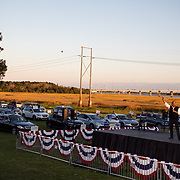 NORTH CHARLESTON, SC - OCT 17: Democratic candidate for United States Senate Jaime Harrison addresses supporters at a socially distanced drive-in rally held at The Bend in North Charleston, South Carolina on October 17, 2020. Harrison is currently running against incumbent senator Lindsey Graham for the South Carolina Senate seat. At press time Harrison is ahead of Graham both fundraising in certain polling in the state.  (Photo by Logan Cyrus for AFP)