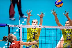 24-08-2017 NED: World Qualifications Belgium - Slovenia, Rotterdam<br /> Eva Mori #1 of Slovenia, Tina Grudina #21 of Slovenia<br /> Photo by Ronald Hoogendoorn / Sportida