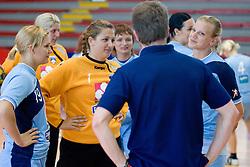 Neli Irman, Branka Zec and Barbara Varlec talking to Primoz Pori at practice of Slovenian Handball Women National Team, on June 3, 2009, in Arena Kodeljevo, Ljubljana, Slovenia. (Photo by Vid Ponikvar / Sportida)