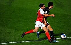 Matty Blair of Cheltenham Town applies pressure on Alex Gilliead of Scunthorpe United- Mandatory by-line: Nizaam Jones/JMP - 20/10/2020 - FOOTBALL - Jonny-Rocks Stadium - Cheltenham, England - Cheltenham Town v Scunthorpe United - Sky Bet League Two