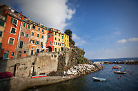 Colorful cliffside tower houses, Riomaggiore, Italy.